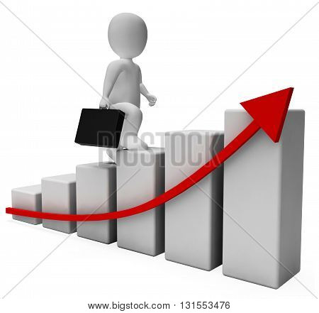Character Profits Indicates Business Person And Advance 3D Rendering