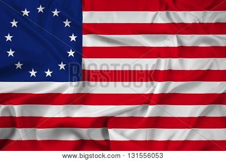 Waving Betsy Ross Flag, with beautiful satin background