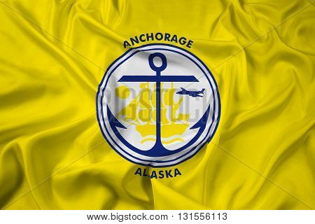 Waving Flag of Anchorage Alaska, with beautiful satin background