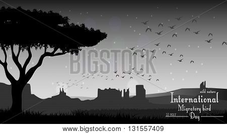 Vector illustration of Birds migratory day with tree on night background