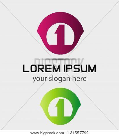 Number logo design.Number one logo.Logo 1 vector template