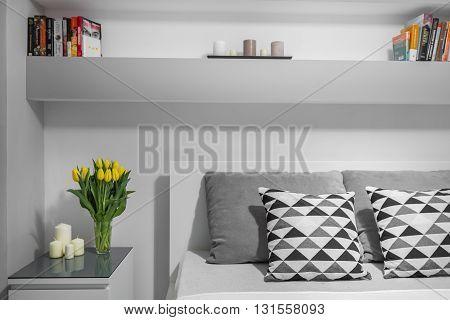 Bookshelf Above Double Bed