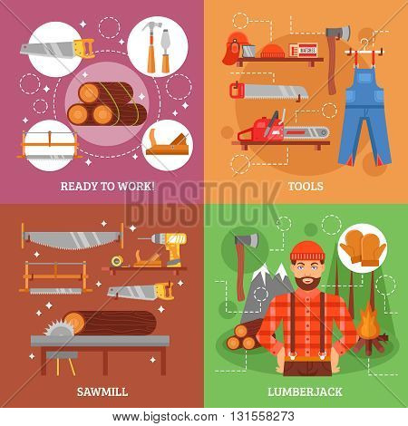 Lumberjack and tools for working wood with sawmill forest bonfire saw axe overall casque isolated vector illustration