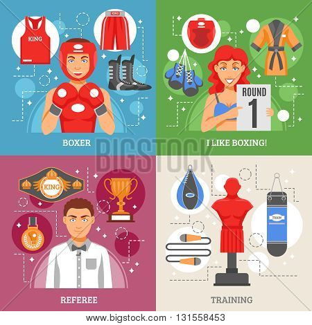 Boxing 2x2 design concept set of manikin for training referee with prizes boxer in helmet and girl in bathing suit with tournament sign vector illustration