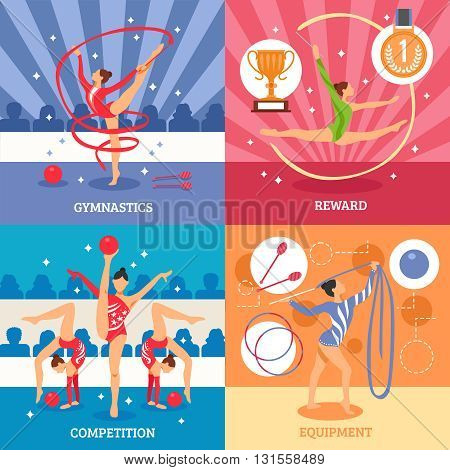 Art gymnastics 2x2 design concept set of competition equipment reward compositions with female athletes flat icons vector illustration