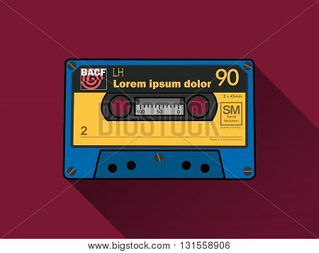 Audiocassette on red background with long shadow