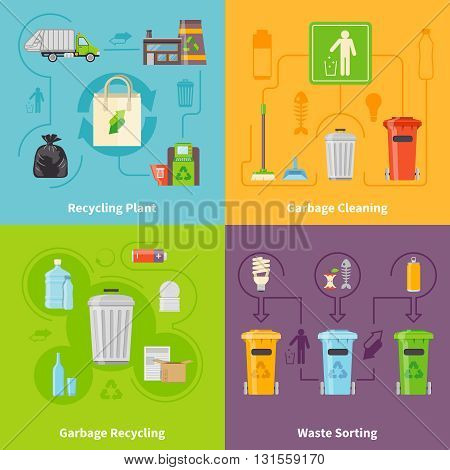 Recycling Flat Concept. Garbage Icons Set. Recycling Vector Illustration. Garbage Recycling Symbols. Recycling Design Set. Recycling Elements Collection.