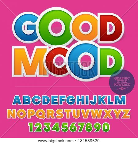 Colorful sticker styled set of  alphabet letters, numbers and punctuation symbols. Vector sample with text Good mood