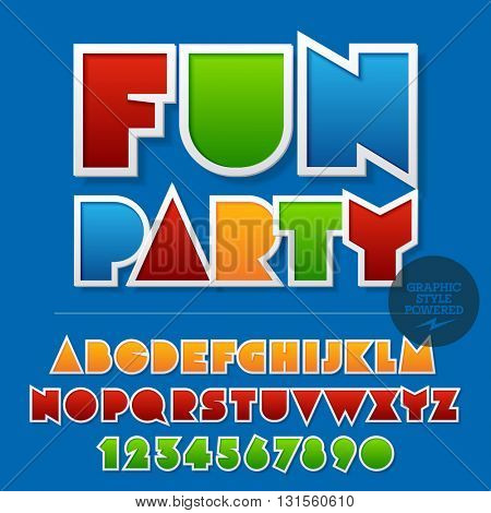 Colorful sticker styled set of  alphabet letters, numbers and punctuation symbols. Vector sample with Fun party