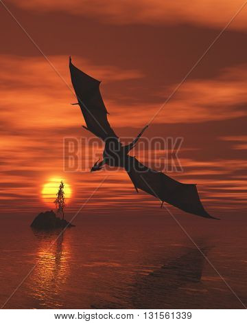 Fantasy illustration of a dragon flying low over a calm ocean at sunset, 3d digitally rendered illustration (3d rendering, 3d illustration)