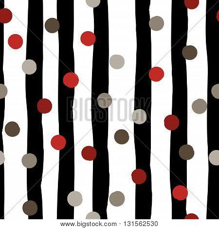 Cute Vector Geometric Seamless Pattern . Polka Dots And Stripes. Brush Strokes. Hand Drawn Grunge Te