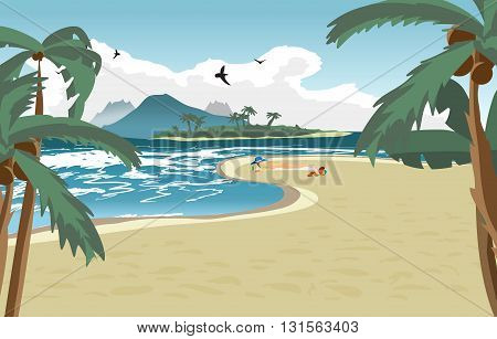 Sea landscape summer beach palms and a private beach. Woman in a blue hat sunbathing naked. Summer background with nude woman on the beach. Vector cartoon flat illustration