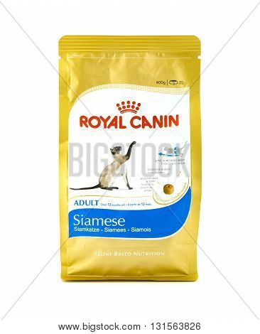 SWINDON UK - MAY 21 2016: ROYAL CANIN Adult Siamese Cat Food on a white Background