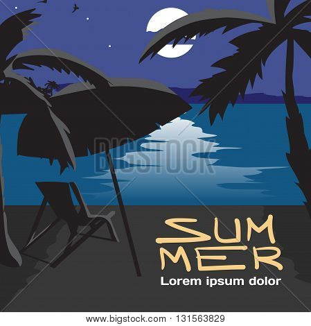 Summer vacation concept background with space for text. Vector cartoon flat illustration. Summer beach landscape at night. Silhouettes of palm trees umbrella chaise in moonlight. Lunar path on water