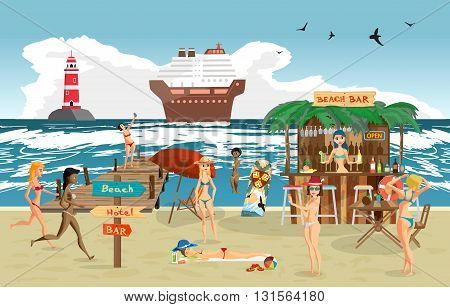 Sea landscape summer beach. Vector cartoon flat illustration. Beach bar with bartender, a woman in a bikini to swim and sunbathe, play sports. Cruise ship and lighthouse