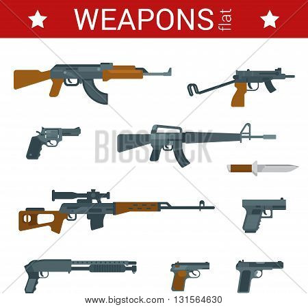 Flat design weapons tools vector icon machine gun