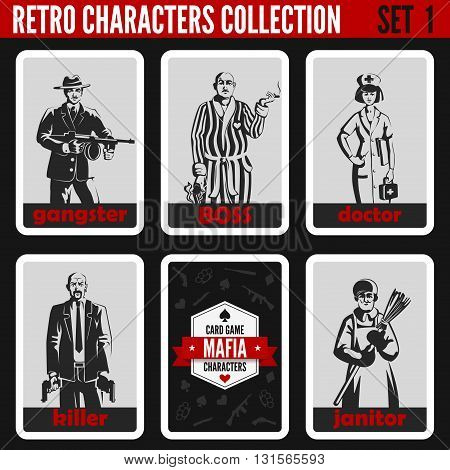 Retro vintage people collection. Mafia noir style. Gangster, Boss, Doctor, Killer, Janitor.  Profess
