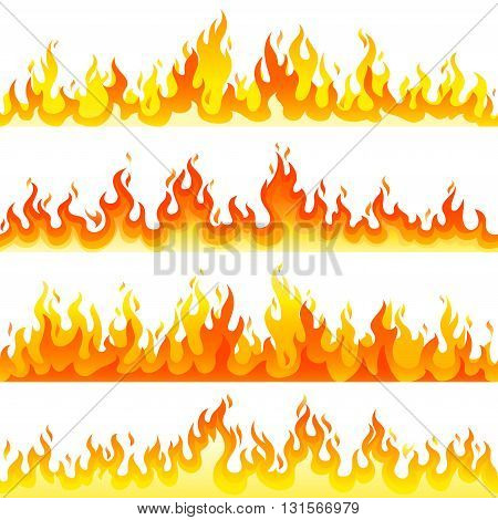 Red Burning Fire Flame Logo set design vector template.