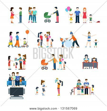 Family nursing parenting life style concept vector flat icon set