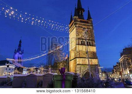 Belfry of Kortrijk in Belgium - medieval free standing bell tower in the middle of the Grote Mark