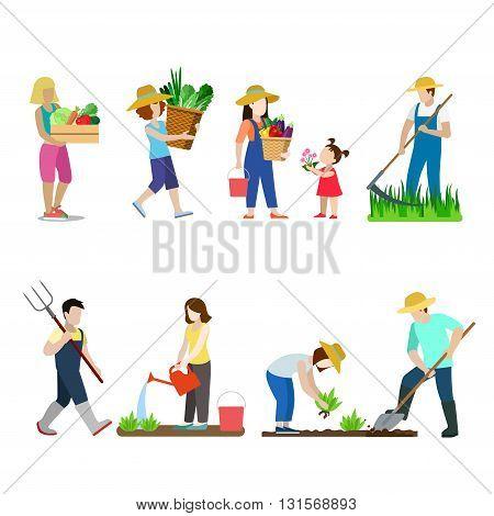Garden creative vector icon set man woman family illustration