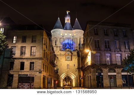 BORDEAUX FRANCE - MAY 06 2015: The Grosse Closhe belltower in historical center of Bordeaux in the night France