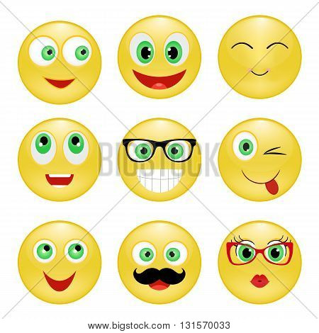 Set of Emoticons. Emoji. Yellow happy smiley with glasses mustache
