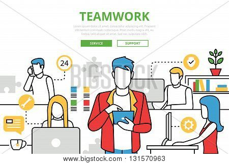 Teamwork concept team office vector flat line art infographics