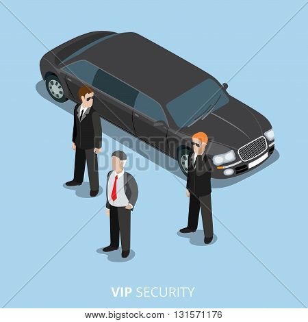 VIP Security Bodyguard Service flat isometric vector 3d
