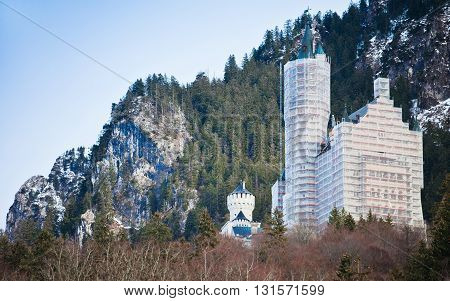 HOHENSCHWANGAU, GERMANY - JANUARY 1, 2012: Neuschwanstein castle under reconstruction