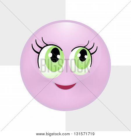 Cute purple smiley. Vector illustration, eps 10