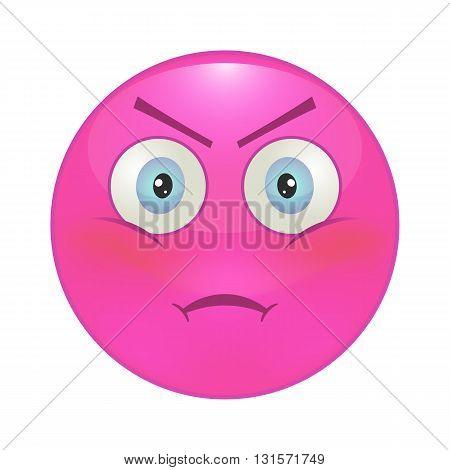 Evil smiley pink. Vector illustration, eps 10