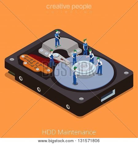HDD Maintenance process technology flat isometric vector 3d