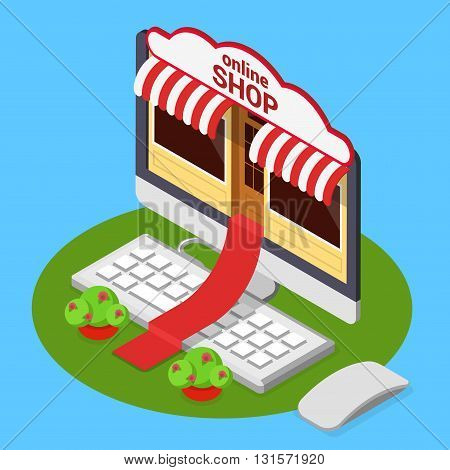 Online shop opening e-commerce flat isometric vector 3d