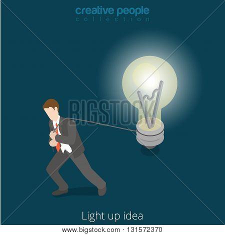 Drive drudge your idea concept business flat isometric vector 3d