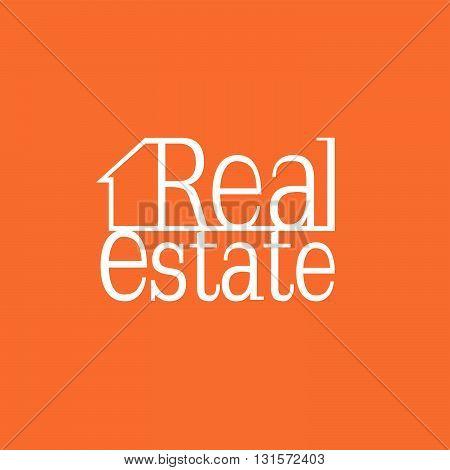 Orange sketch real estate house map for business