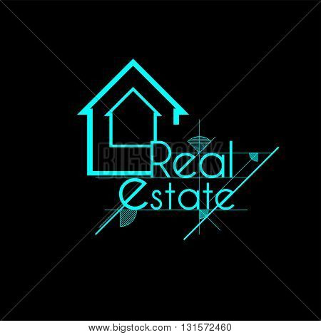 Blue sketch real estate house map for business