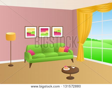 Livingroom green pink sofa yellow pillows lamp window illustration vector