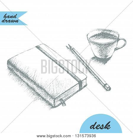 Hand drawn sketch of notebook with bookmark and elastic band pencil and coffee cup in graphite.