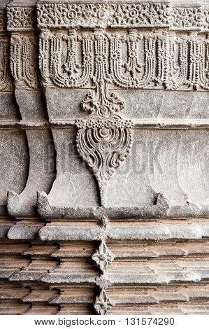 Detail of a column on a temple in Belur, Karnataka, India
