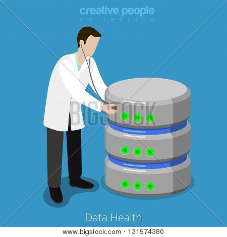 Database SQL storage HDD health checkup flat isometric vector 3d