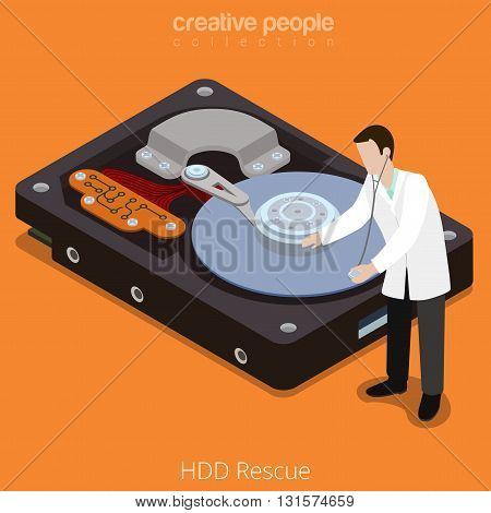 HDD Rescue process technology hard disk flat isometric vector 3d