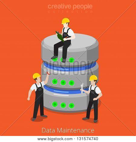 HDD Database Storage Maintenance SQL flat isometric vector 3d