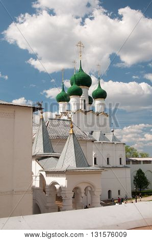 ROSTOV RUSSIA MAY 07. 2016: - Rostov the Great in spring view to the kremlin The Church Of St. John The Evangelist. The Golden Ring of Russia
