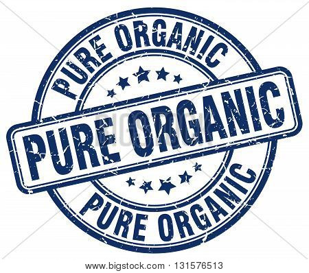 pure organic blue grunge round vintage rubber stamp.pure organic stamp.pure organic round stamp.pure organic grunge stamp.pure organic.pure organic vintage stamp.