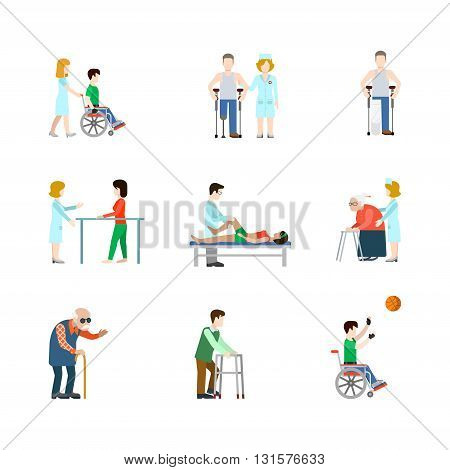Medical occupation professional people icon set flat vector
