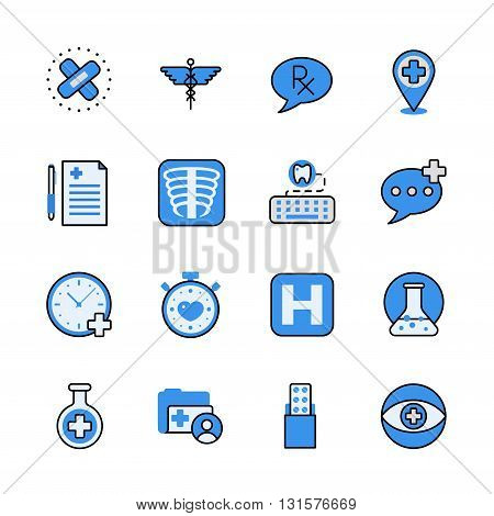 Pharmaceutical industry lineart flat vector icon set.