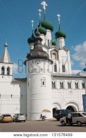 ROSTOV RUSSIA MAY 08. 2016: - Rostov the Great in spring view to the kremlin The Church Of St. John The Evangelist. The Golden Ring of Russia