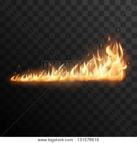 Realistic fire flames vector effect for design.Fire trail vector effect. Burning flame vector illustration. Fire flame with transparency. Trail of fire.