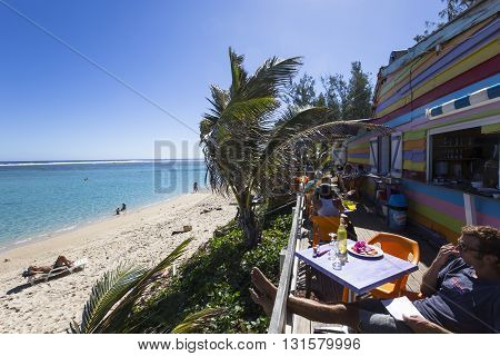 SAINT GILLES LA REUNION FRANCE MAY 02 : Saint gilles beach La Reunion island Indian Ocean may 02 2016 in Saint Gilles La Reunion France